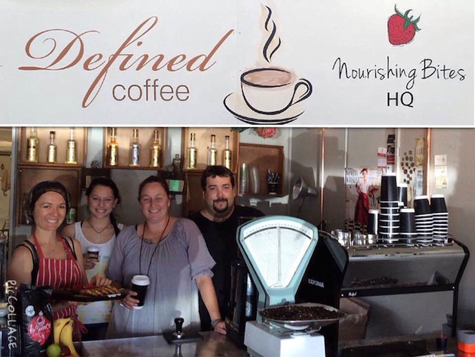 Defined Coffee and Nourishing Bites in the new shop, AKA the Mooney Street Gang
